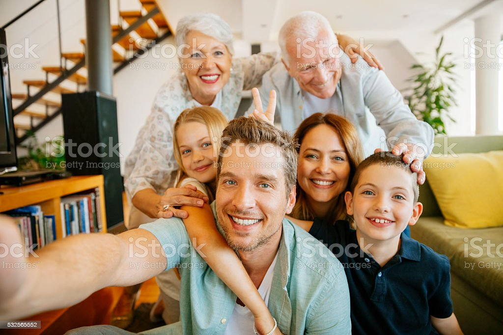Multi generation family stock photo