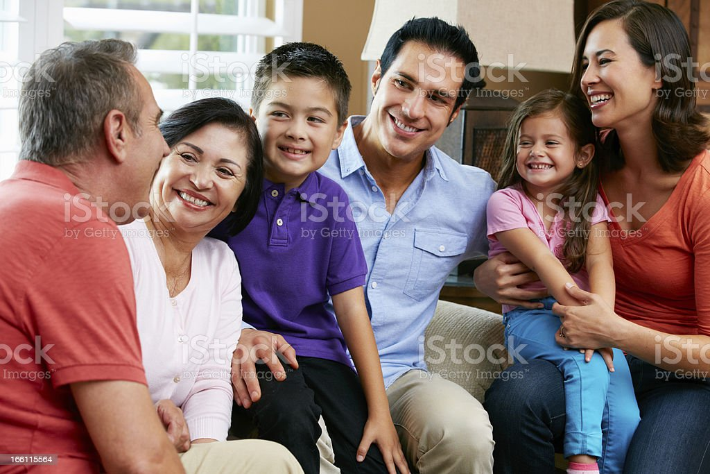 Multi Generation Family Relaxing At Home Together royalty-free stock photo