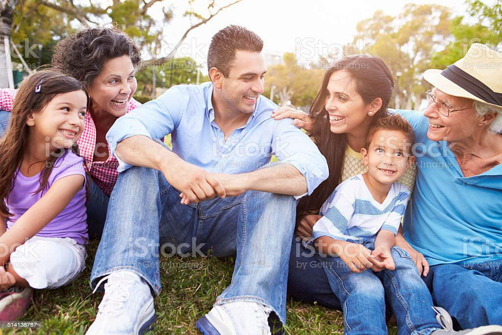 Multi Generation Family Sitting In Park Together stock photo