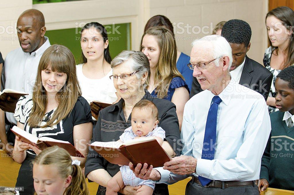Multi generational church congregation stock photo
