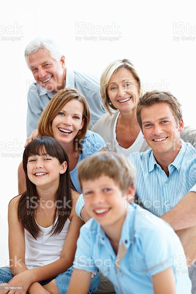 Multi generational familiy smiling together royalty-free stock photo
