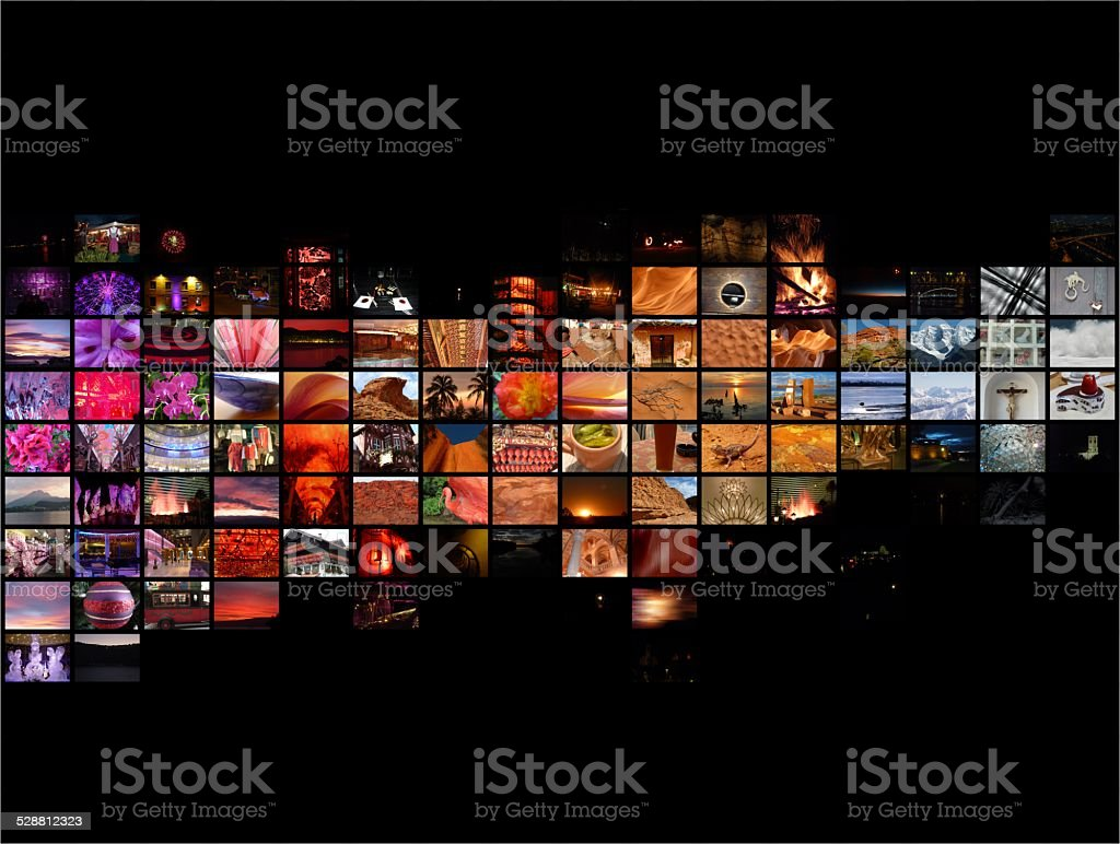 Multi image collage background stock photo