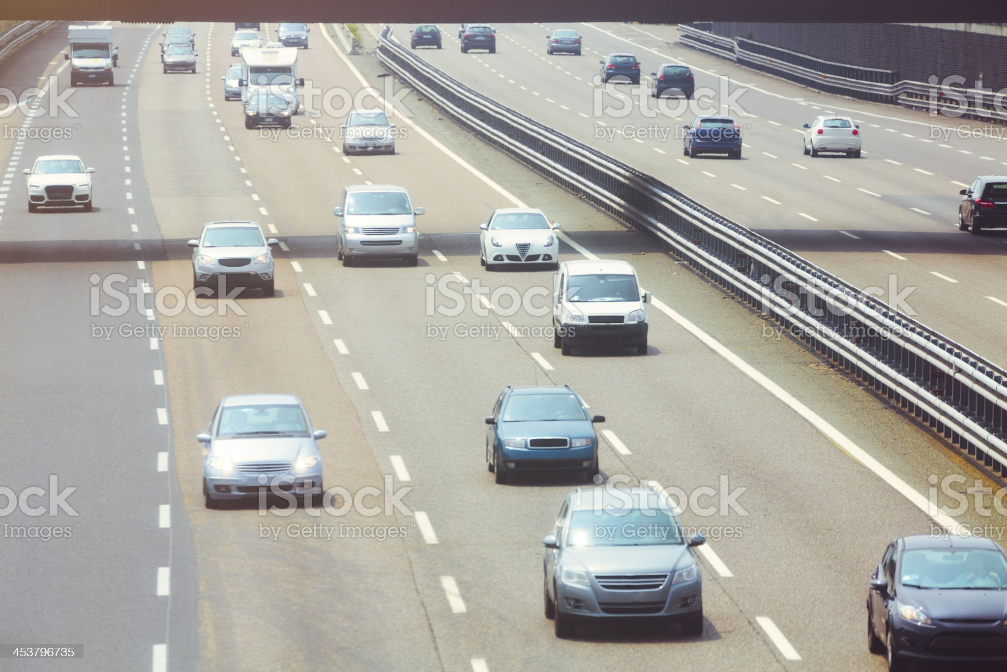 Multi lane highway (Italy) royalty-free stock photo