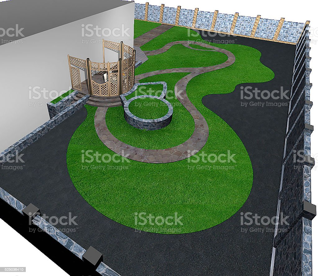 Multi level landscaping, 3d render stock photo