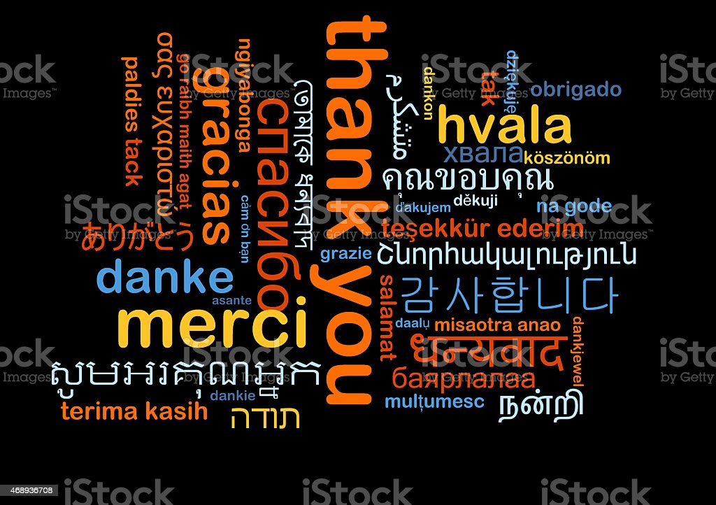 Multi lingual thank you word cloud on black background stock photo