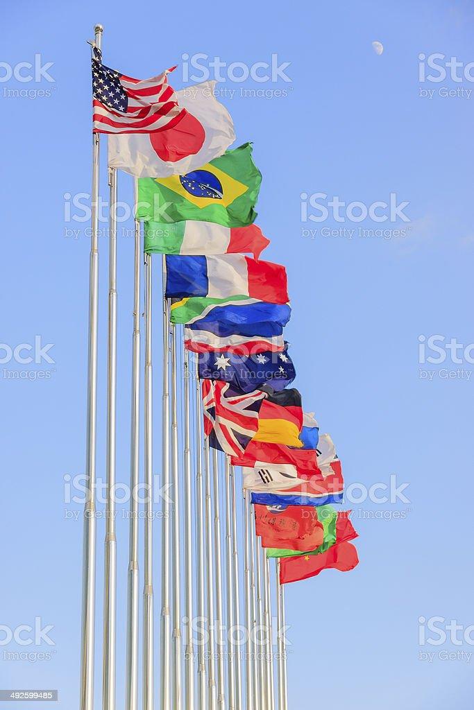 Multi national flag stock photo