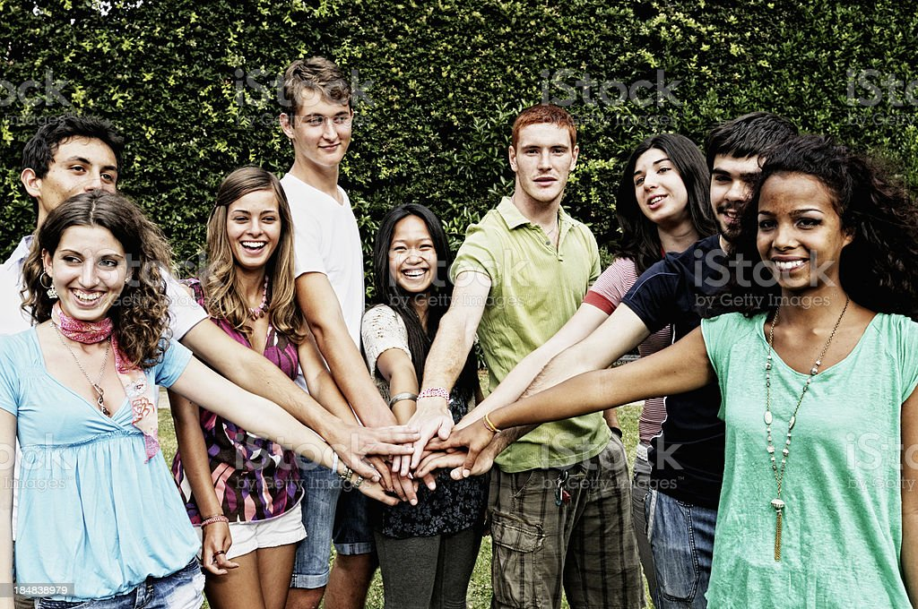 Multi Racial Group Students Hands Connection royalty-free stock photo