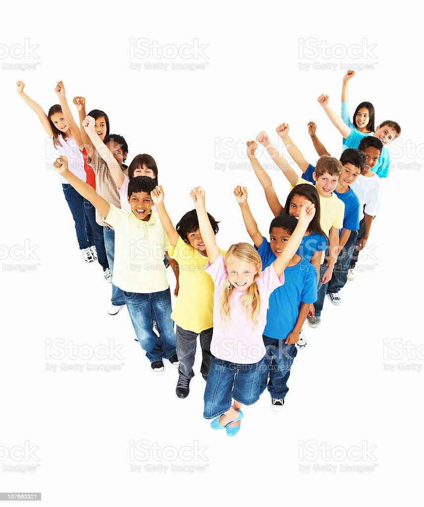Multi racial kids standing with hands raised forming V shape royalty-free stock photo