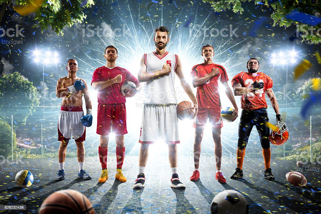 Multi sports collage boxing basketball soccer football volleyball stock photo