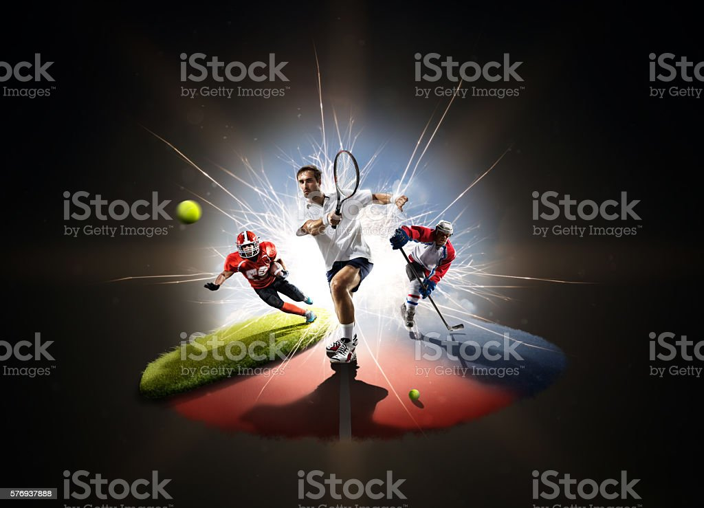 Multi sports collage from tennis hockey american footbal stock photo