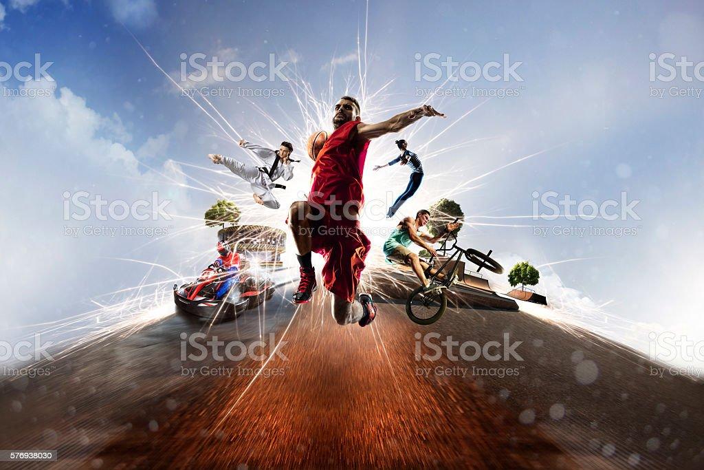 Multi sports collage karting basketball bmx batut karate stock photo