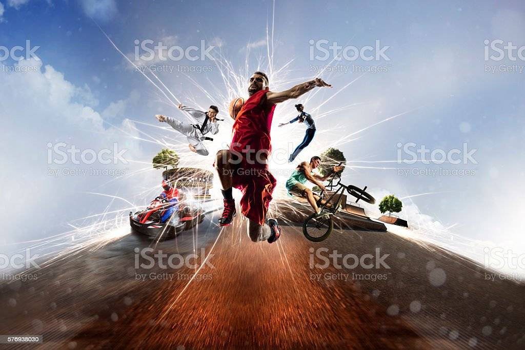 Multi sports collage karting basketball bmx batut karate stock photo