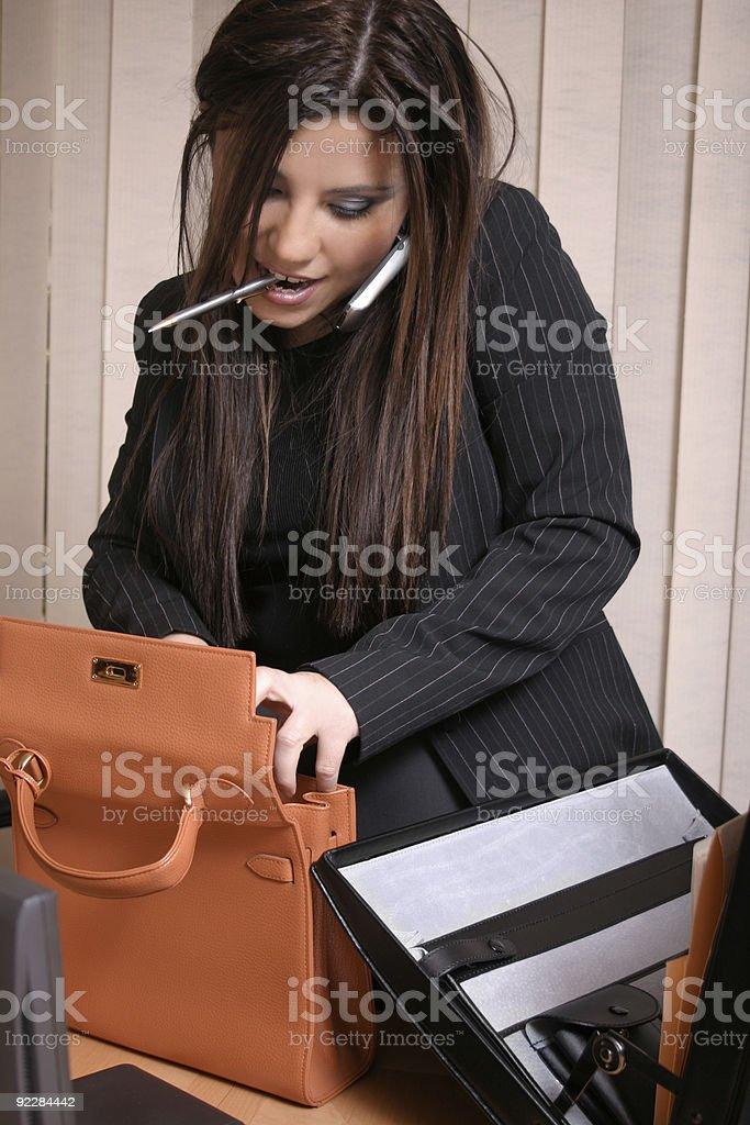 Multi Tasking - Busy Businesswoman stock photo