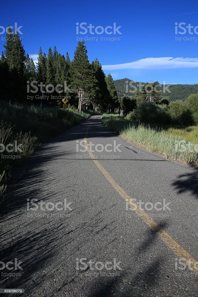 Multi use path.Squaw Valley CA. stock photo