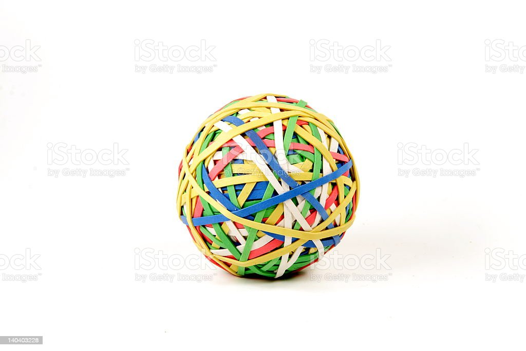 Multi-collored Rubber Band Ball royalty-free stock photo