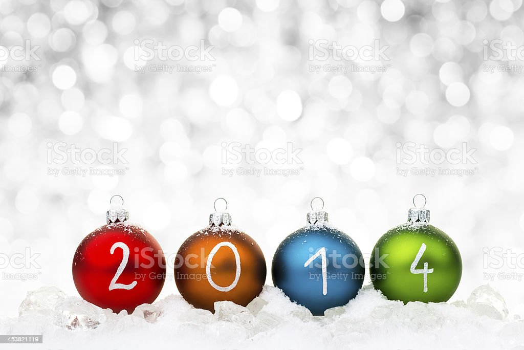Multicolor 2014 ornaments Christmas background royalty-free stock photo