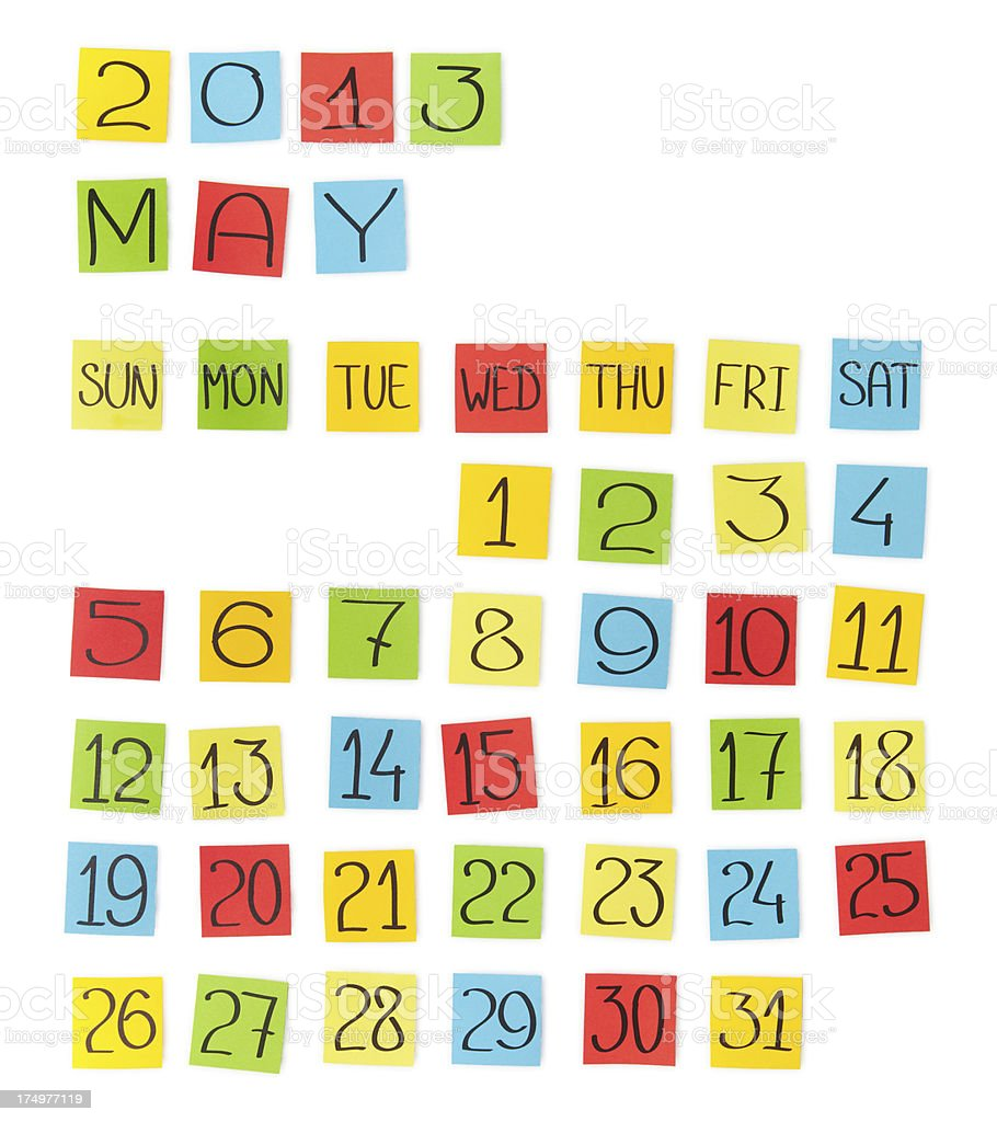 Multicolor calendar: May 2013. Pieces of colored paper. royalty-free stock photo