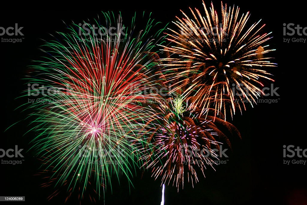 Multicolor firework show at night stock photo