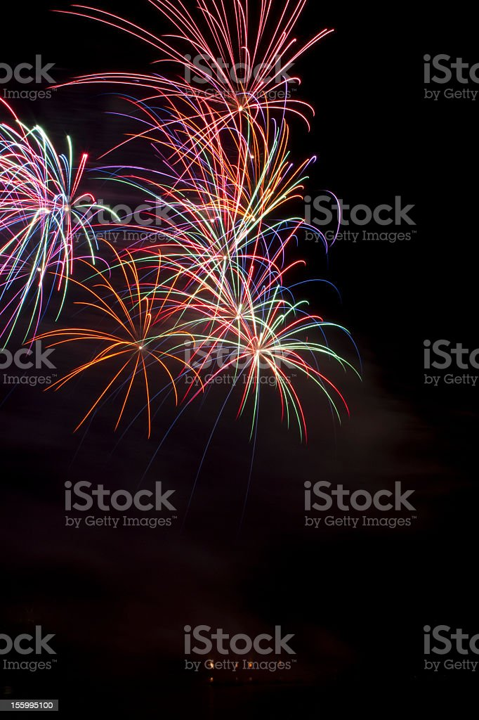 Multicolor fireworks in the sky royalty-free stock photo