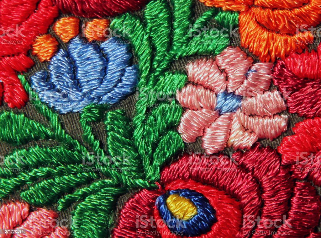 Multicolor floral hand embroidery pattern stock photo
