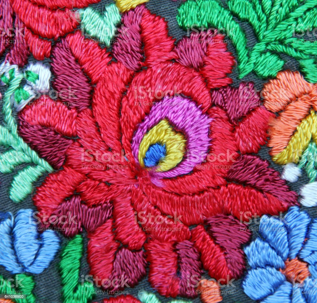 multicolor floral handmade embroidery pattern stock photo