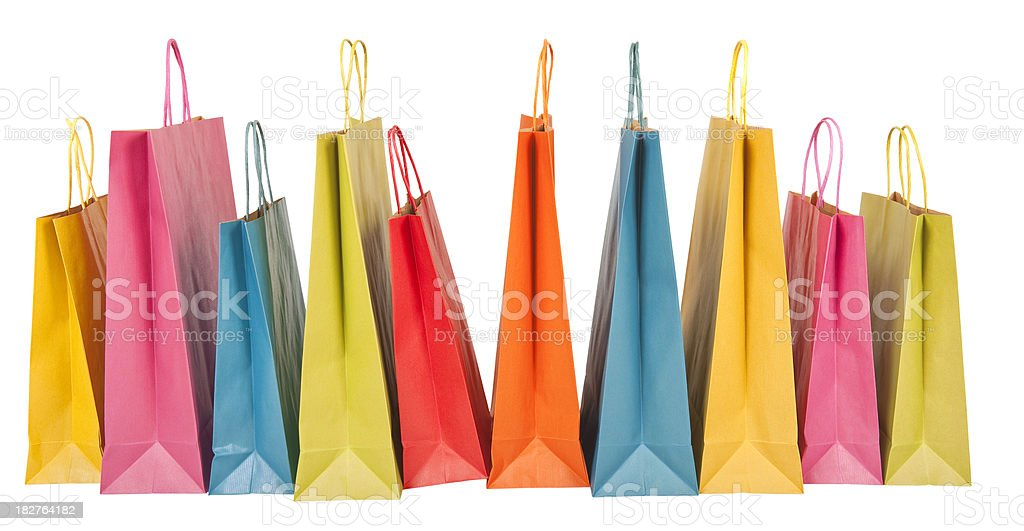 Multicolor gift bags royalty-free stock photo