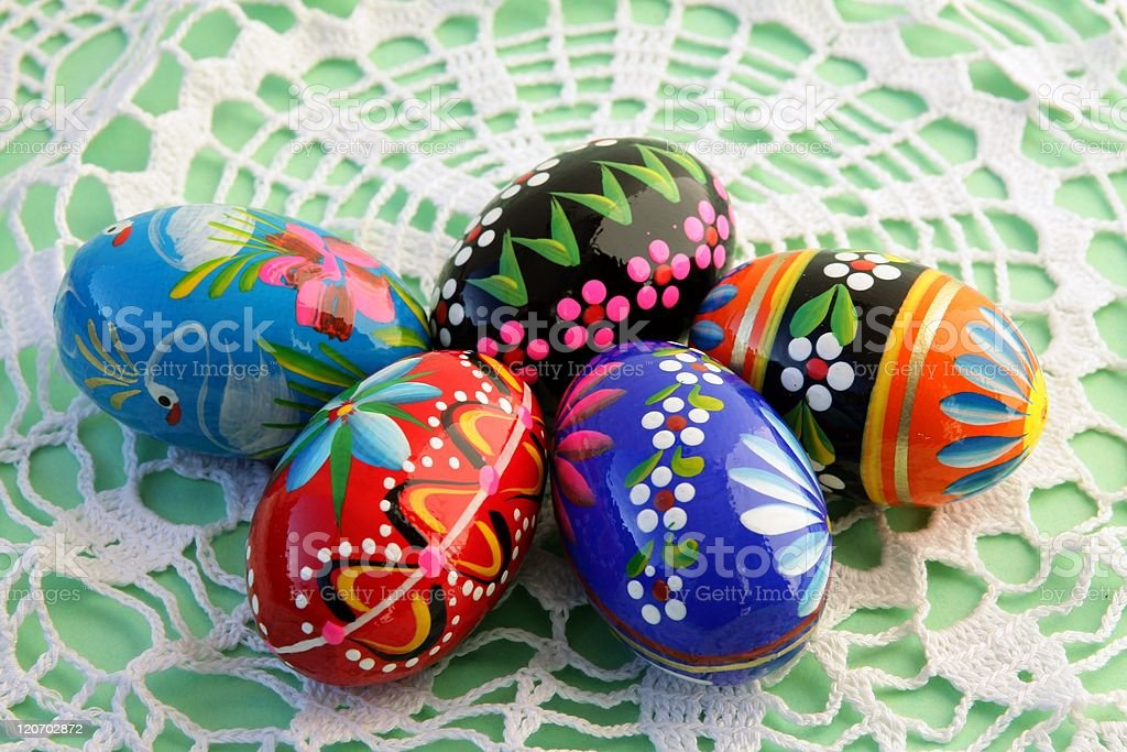 multicolor hand painted Easter eggs stock photo