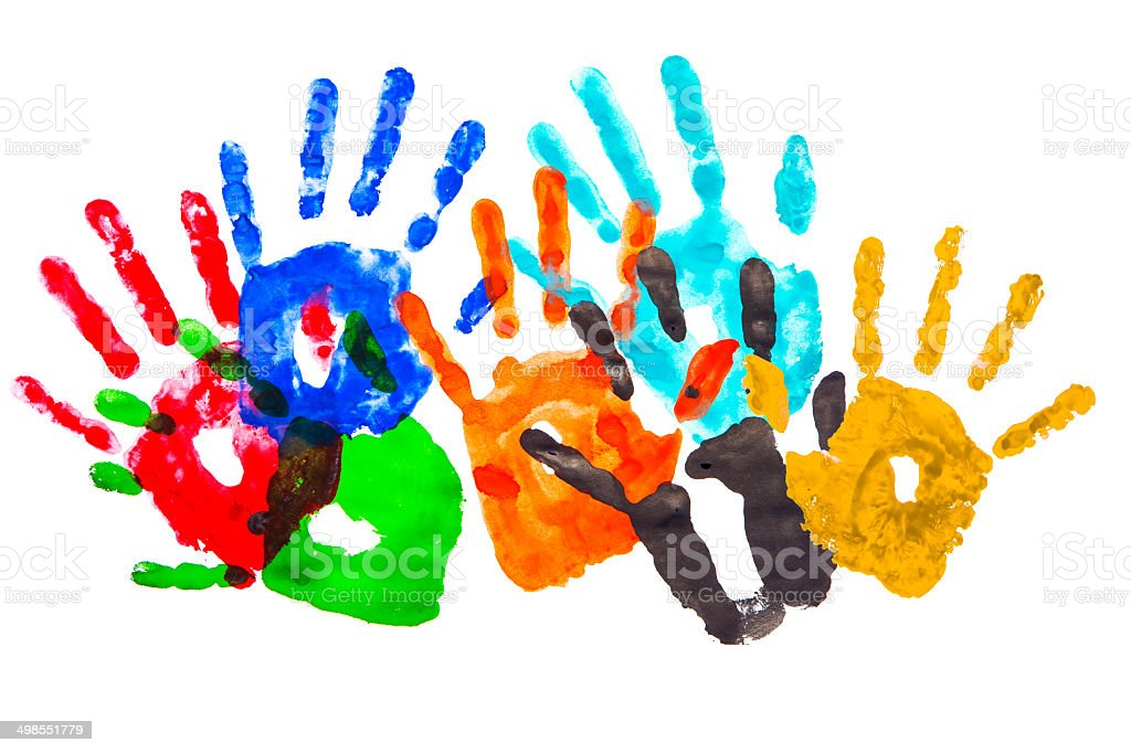 Multicolor handprints stock photo