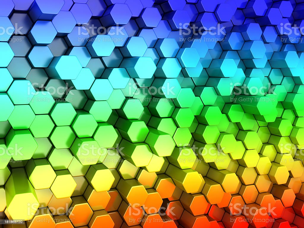 Multicolor Hexagon Background royalty-free stock photo