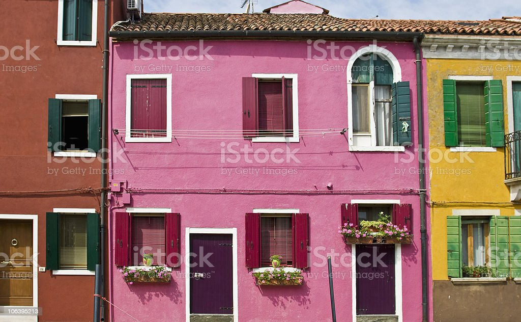 Multicolor houses in Burano, Venice, Italy royalty-free stock photo