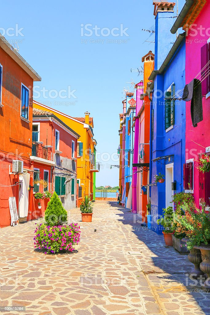 Multicolor houses stock photo