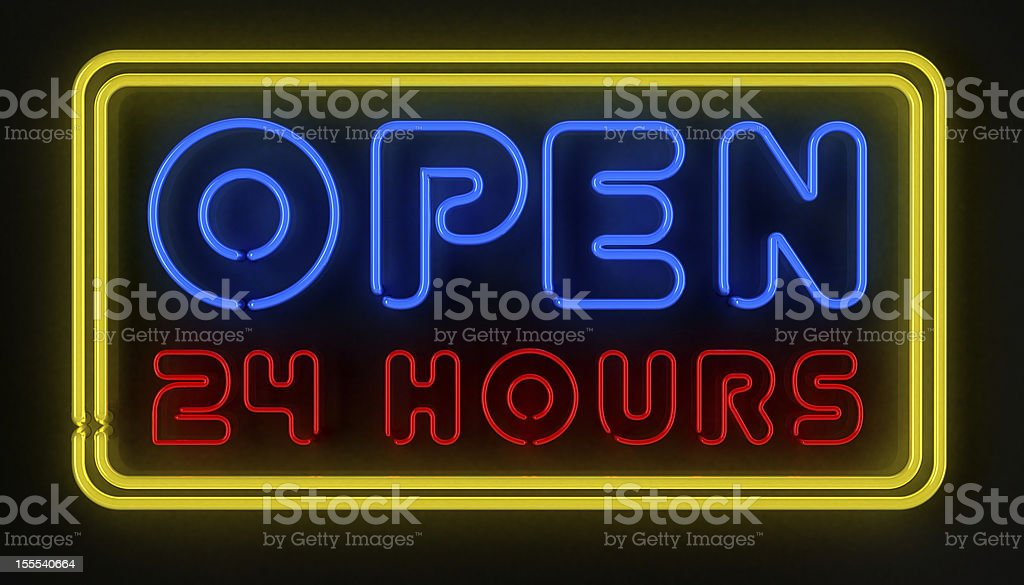 Multicolor neon open 24 hours sign lit up stock photo