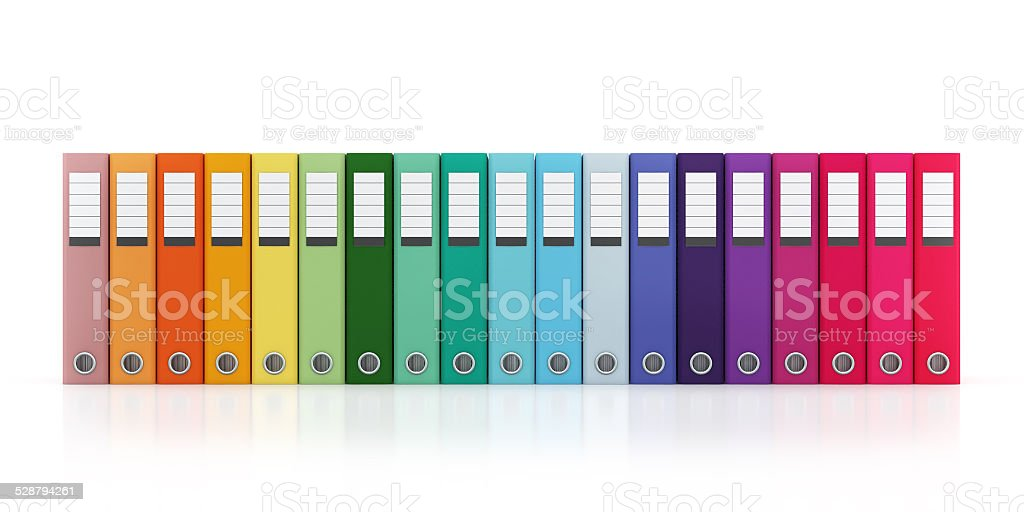 Multicolor Office Folder File Horizontal Composition Isolated stock photo