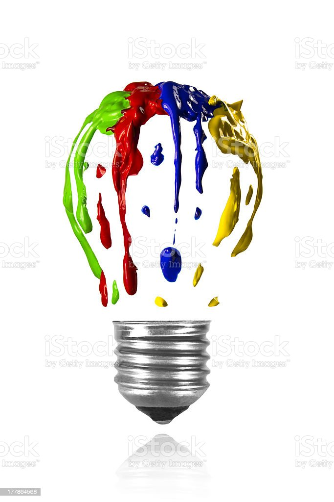 Multicolor paint leaking in light bulb form royalty-free stock photo