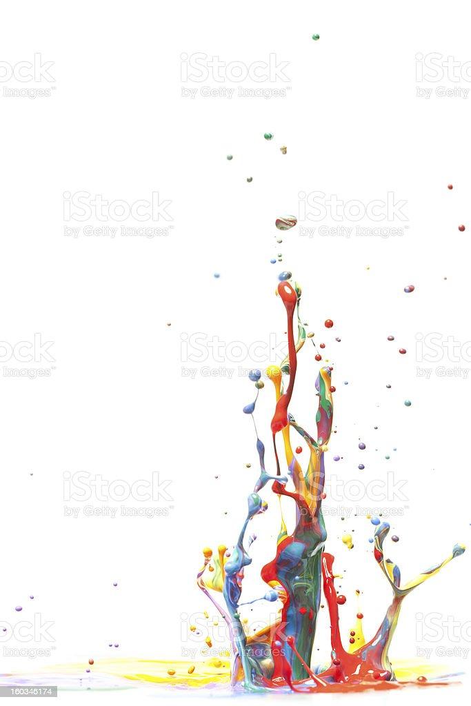Multicolor Paint Splash Isolated on White royalty-free stock photo