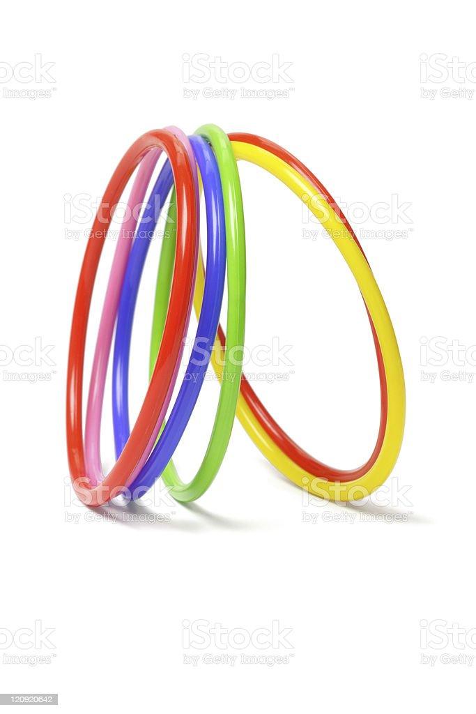 multicolor plastic bangles stock photo