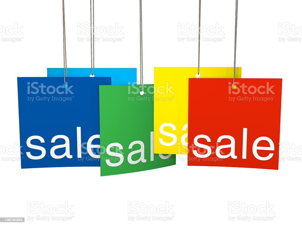 Multicolor sale tags royalty-free stock photo