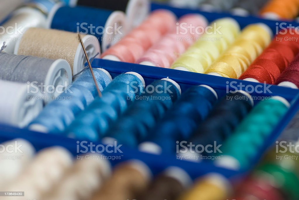 multicolor sewing kit background stock photo