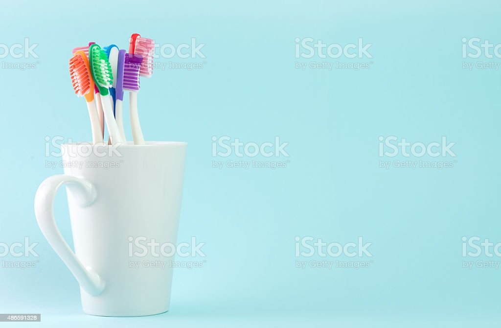 Multicolor toothbrushes stock photo