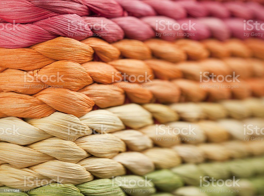 Multicolor Wicker Texture, Blurred Perspective royalty-free stock photo