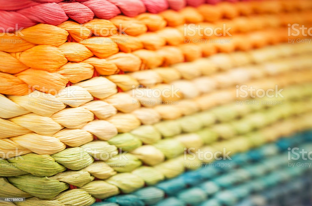 Multicolor Wicker Texture, Blurred Perspective stock photo