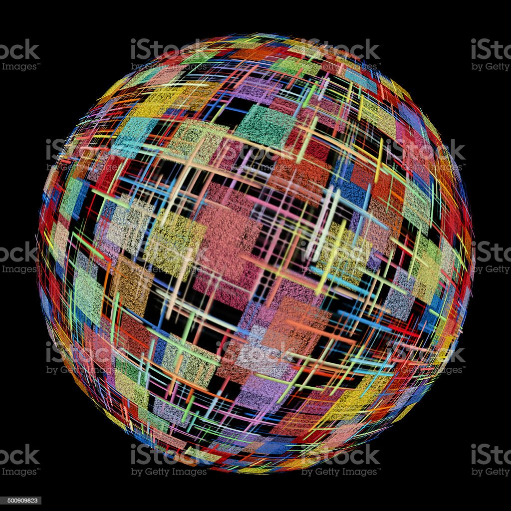 Multicolored abstract globe silhouette on black background. royalty-free stock photo