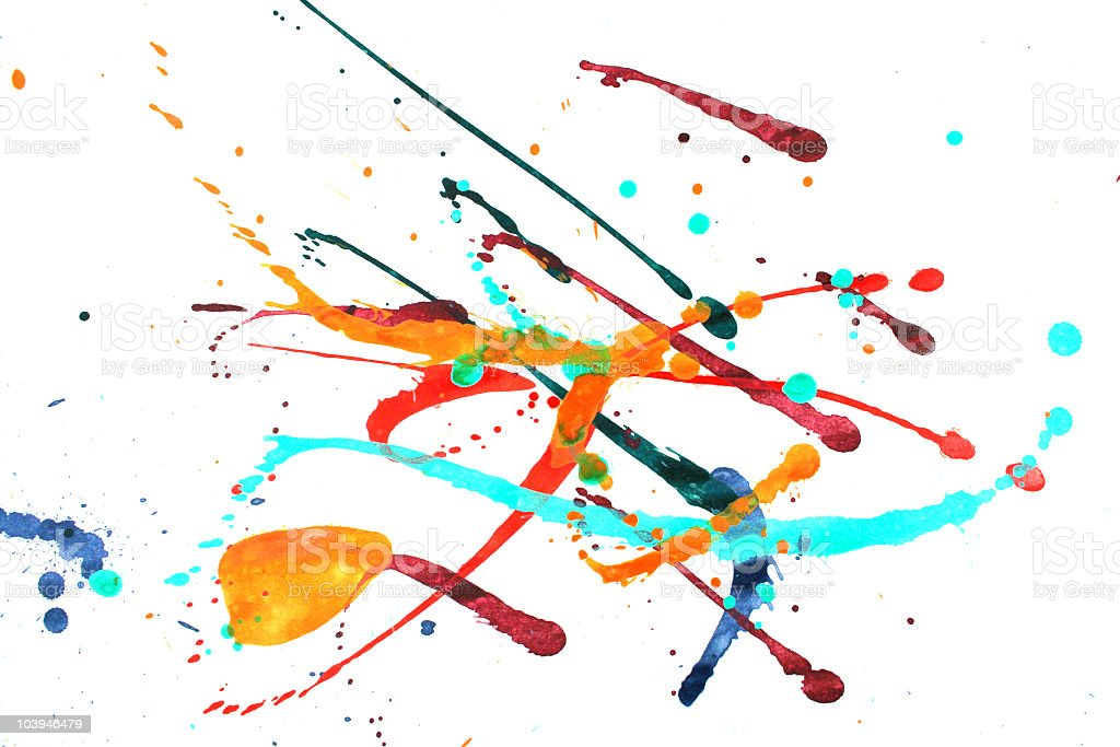 Multicolored abstract splashes of pain on white stock photo