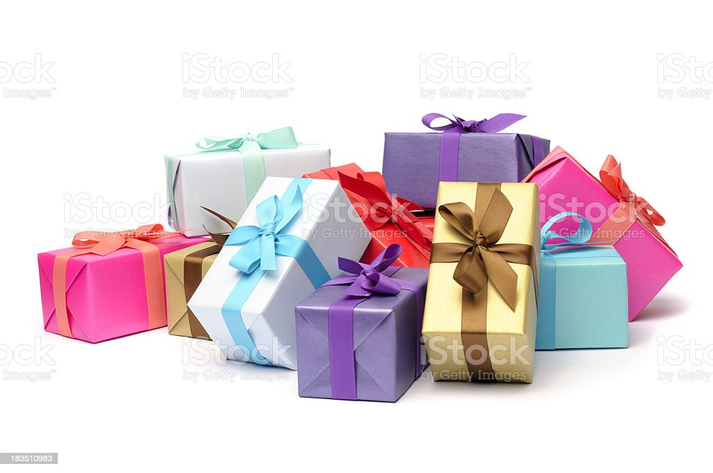 Multicolored and beribboned gift boxes in pile stock photo