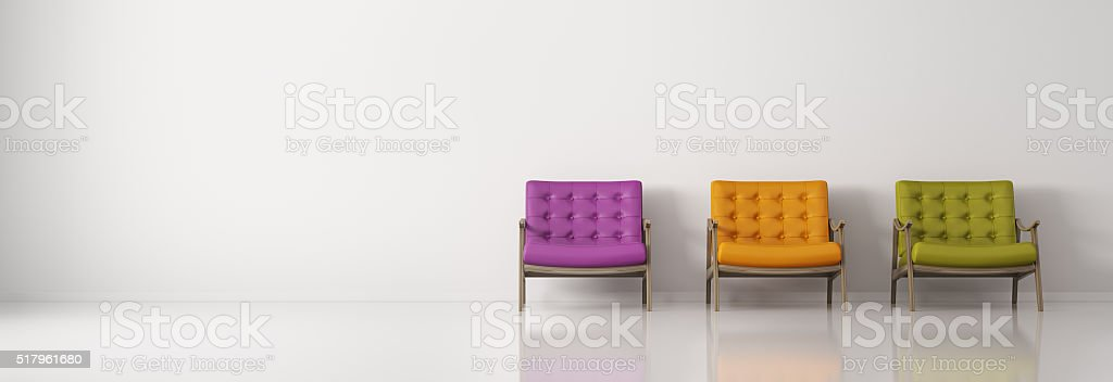 Multicolored armchairs against of white wall  panorama 3d rendering stock photo