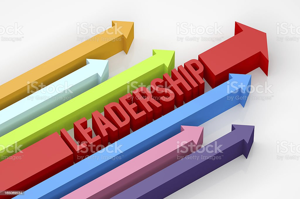 3D multicolored arrows with block leadership text stock photo