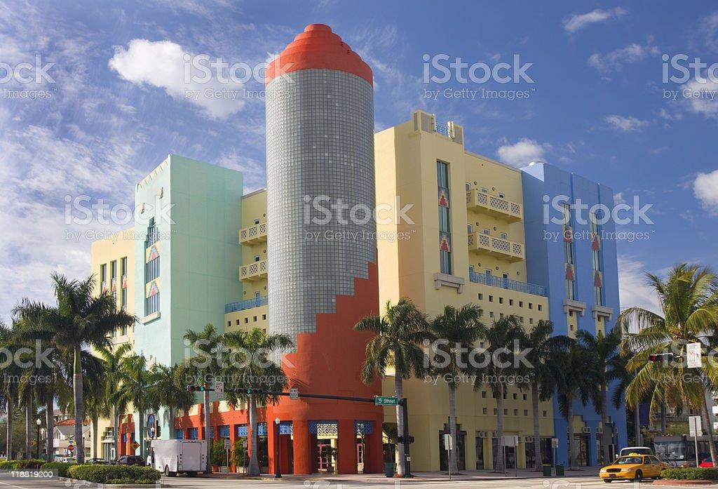 Multicolored Art Deco Building, Miami Beach stock photo
