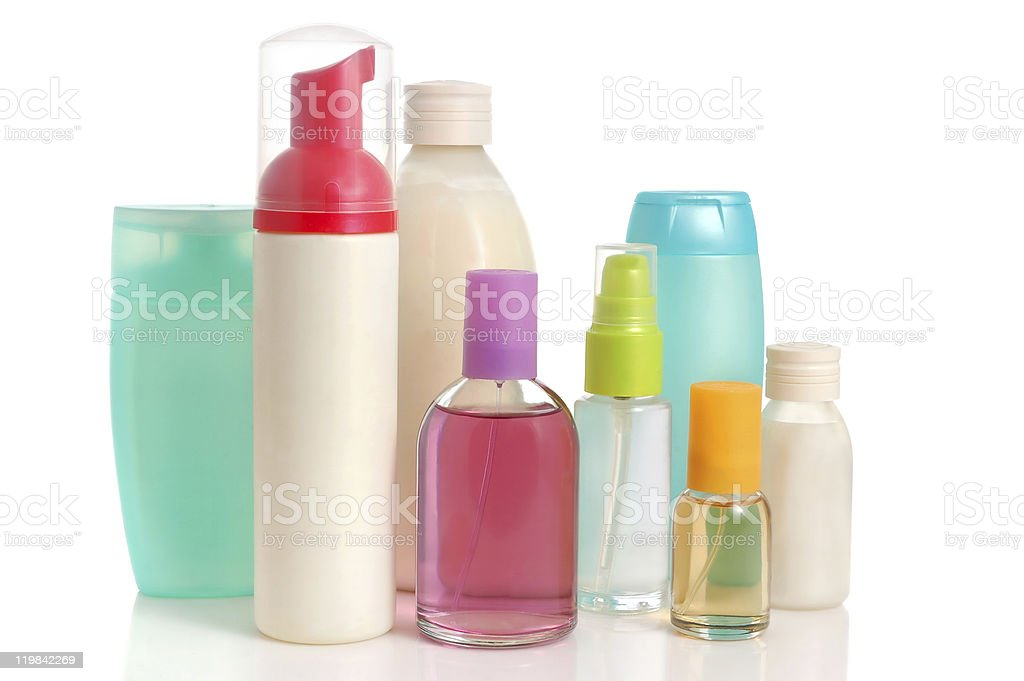 A multicolored assortment of body care bottles royalty-free stock photo
