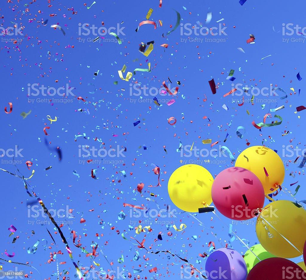 multicolored balloons and confetti #2 stock photo