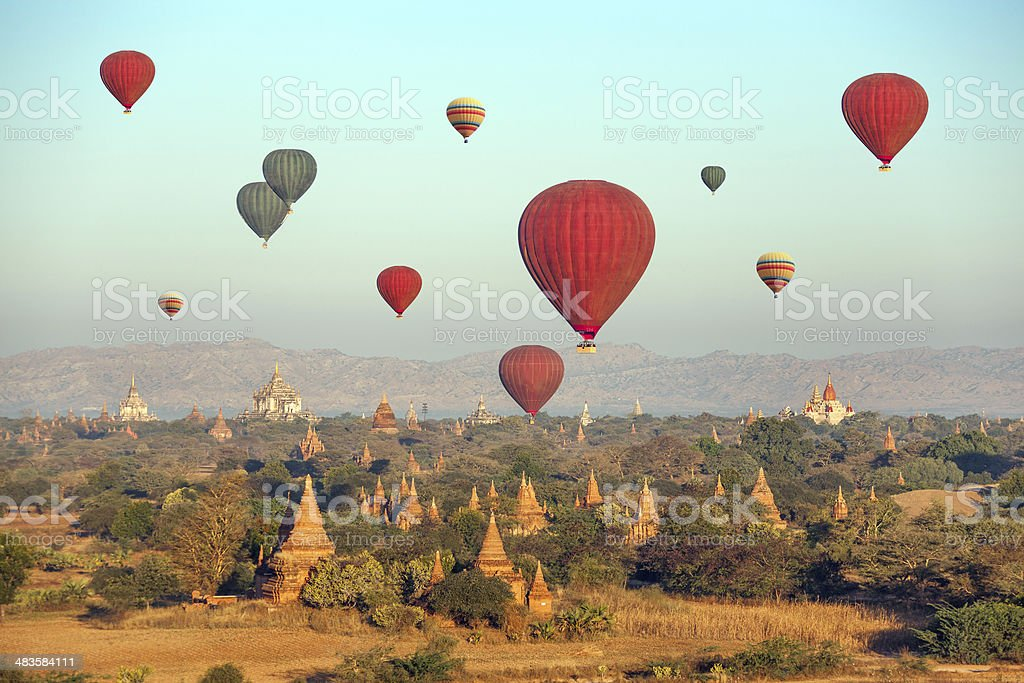 Multicolored Balloons Temples Bagan stock photo